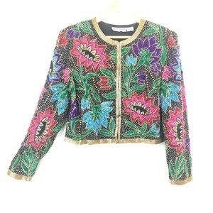 VINTAGE Beautiful Sequined & Beaded Floral Jacket